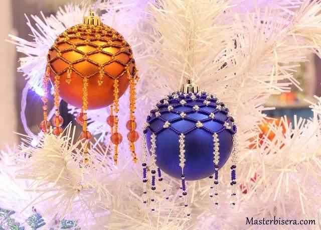 Оплетаем бисером новогоднего шара: мастер-класс «Клементин»