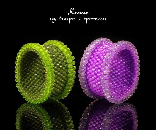 Кольцо из бисера с гранями мозаичным плетением