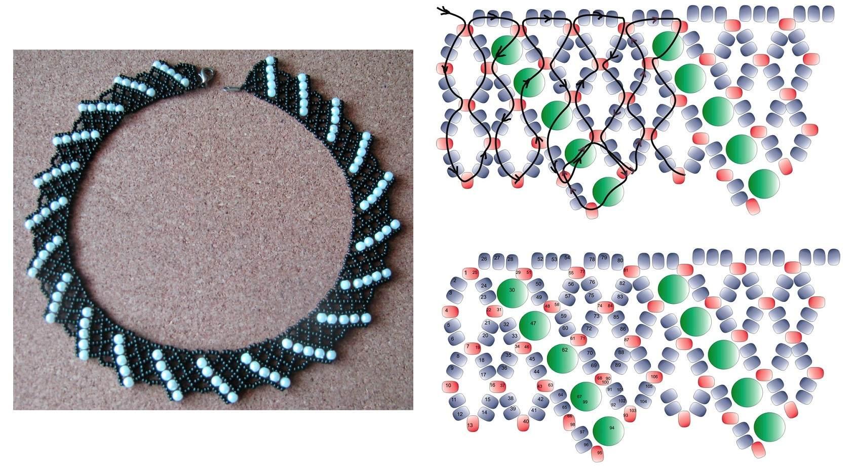 Бисероплетение колье: схемы для начинающих и мастер класс плетения простого ожерелья на шею